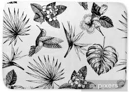 Vecotr Hand Drawn Seamless Pattern Tropical Plants Exotic Engraved Leaves And Flowers Monstera Livistona Palm Leaves Bird Of Paradise Plumeria Hibiscus Hummingbird Bath Mat Pixers We Live To Change