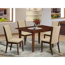 Shop Mlla5 Mah 04 5 Pc Small Dining Table Set 4 Parson Chairs And Table High Back Mahogany Finish Overstock 32085491