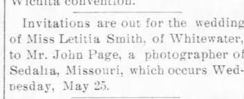 Letitia Smith and John Page Wedding May 25 1904 Eldorado ...