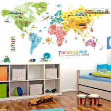 Big Discount 63a88 Big Animal World Map Wall Sticker Kids Room Home Decor Cartoon Wall Decor Aesthetic Self Adhesive Poster Wallstickers Cicig Co