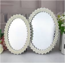 oval pearl desktop mirror metal frame