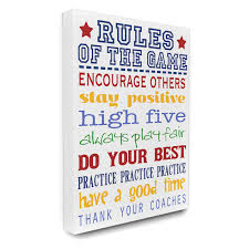 The Kids Room By Stupell Rules Of The Game Blue And Red Typography Rectangle Wall Plaque Decor Wall Decor