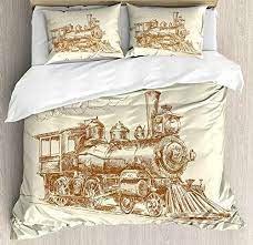 steam engine duvet cover set old times