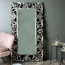 large ornate silver wall floor mirror