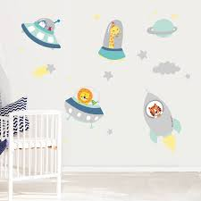 Paints Sophisticated Rocket And Space Wall Stickers With Navy Independence