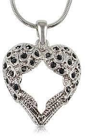 angel wing necklace small heart shaped