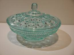 light blue glass candy dish with lid