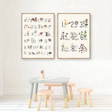 Woodland Alphabet And Number Educational Posters And Prints Nursery Wall Art Canvas Painting Pictures Kids Room Wall Decor Painting Calligraphy Aliexpress