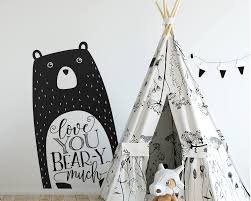 Love You Bear Y Much Wall Decal Nursery Decal Vinyl Wall Decal Woodland Animal Decal Tribal Nursery Bear Decal Woodland Nursery Decal
