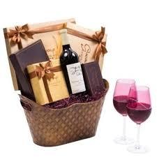 signature wine chocolate gift basket