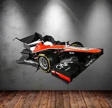 Wall Decals Full Colour 3d F1 Racing Car Race Car Cracked Wall Etsy Decal Wall Art Sticker Wall Art Bedroom Decals