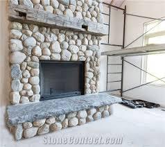 river rock muskoka stone fireplace and