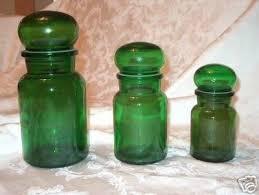 rare set 3 antique green glass jars