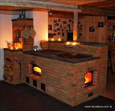 brick masonry heater and cookstove in
