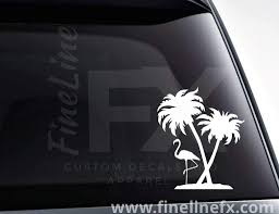 Flamingo And Palm Trees Vinyl Decal Sticker