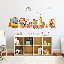 Decowall Da 1406a Animal Trains Kids Wall Decals Wall Stickers Peel And Stick Removable Wall Stickers For Kids Nursery Bedroom Living Room Baby B00r3udnh2