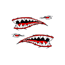 2 Pcs Shark Teeth Mouth Vinyl Decal Stickers For Kayak Canoe Dinghy Boat W H Car Emblems Vehicle Parts Accessories