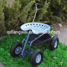 cart tractor work seat with pull handle