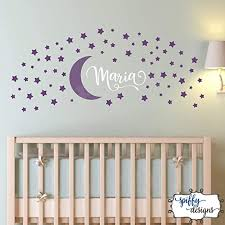 Amazon Com Ke10nce Personalized Custom Name Moon And Stars Wall Art Decal Set Of 70 Stars Wall Decal Vinyl Sticker Decor Nursery Bedroom Crib By Spiffy Decals Home Kitchen