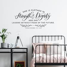 She Is Clothed In Strength Dignity Vinyl Wall Decal Etsy Wall Decals For Bedroom Vinyl Wall Decals Bedroom Vinyl Wall Decals