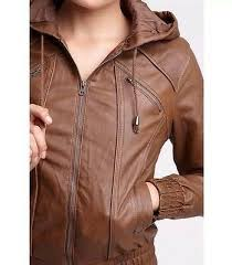 brown hooded faux leather jacket sound