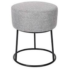 Birdrock Home Birdrock Home Grey Linen Foot Stool Ottoman A Soft Compact Round Padded Seat Living Room Bedroom And Kids Room Chair A