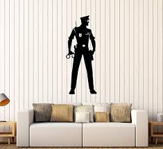 Amazon Com Vinyl Wall Decal Police Officer Law Policeman Cop Stickers 282ig Burgundy Home Kitchen