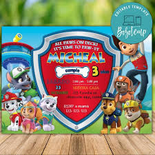 Imprimible De Paw Patrol Team For Boy Invitaciones Descarga
