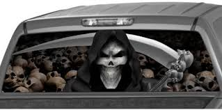 Amazon Com Motorink Grim Reaper Rear Window Graphic Decal Tint Sticker Truck Suv Ute Glasscape Automotive