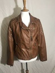 brown faux leather jacket size large