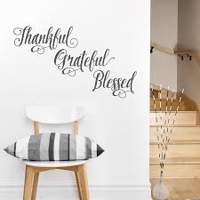Thankful Grateful Blessed Wallums Wall Quote Sticker