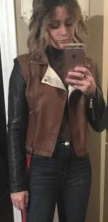 faux leather block color jacket