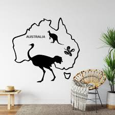 Map Of Australia Wall Decal Australia Map Ostrich Snake Etsy In 2020 Map Wall Decal Wall Stickers Australia Office Wall Decals