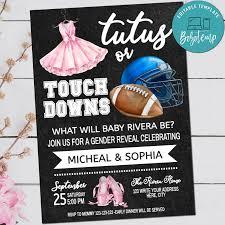 Tutus O Touchdowns Imprimibles Invitan A Revelar Genero Invitacion