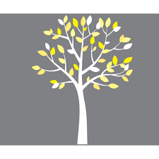 Small Yellow And Gray White Tree Wall Decals For Girls
