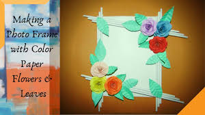 diy photo frame with paper flowers
