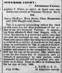 Addie White suit for Seymour PURYEAR estate 1884 - Newspapers.com