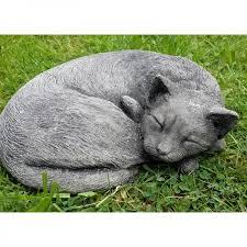 cat cast stone garden ornament