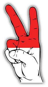 Indonesia Flag Hand Peace Sign Car Bumper Sticker Decal Etsy