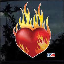 Flaming Heart Full Color Decal Sticker Custom Sticker Shop