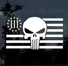 Skull 3 Percenter Flag Window Decal Sticker Custom Sticker Shop