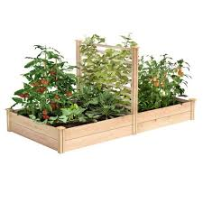 Greenes Fence 4 Ft X 8 Ft X 11 In Premium Cedar Raised Garden Bed With Trellis Rc489612ptre The Home Depot