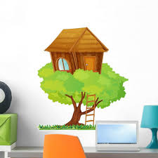 Amazon Com Wallmonkeys Wm166635 Tree House Peel And Stick Wall Decals 24 In H X 23 In W Medium Home Kitchen