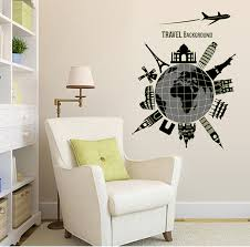 World Map Travel Famous Buildings Vinyl Mural Decal Wall Sticker Stickers For Glass Window Living Room Bedroom Home Wall Stickers Aliexpress