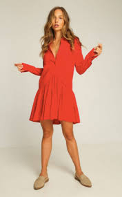 rue stiic francisco shirt dress red