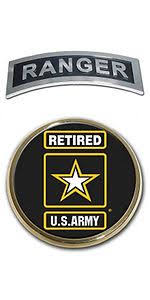 Us Army Retired Star Logo Seal And Ranger Emblem Real Metal Chrome Auto Decal Star Logo Us Army Ranger