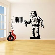 Amazon Com Banksy Vinyl Wall Decal Robot Graffiti Machine Painting Barcode Street Graffiti Sticker Funny Robot With Can Free Decal Gift 31 X 31 Home Kitchen