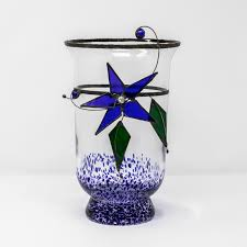 blue storm jar orchid stained glass