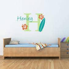 Amazon Com Surfboard Wall Decal With Initial Name Personalized Hawaiian Wall Decal Surfboard Decal De0079 Handmade