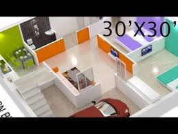 30x30 house plan 3d view by nikshail